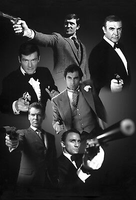 Roger Moore 01 With All 6 James Bond 007 Montage Mugs And Photo Prints