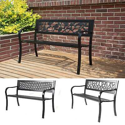 WestWood Outdoor 3 Seater Garden Bench Seat Chair Slat Steel Park Patio Black