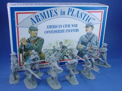 ARMIES IN PLASTIC 5411Civil War Confederate Infantry 20 Unpainted Figures