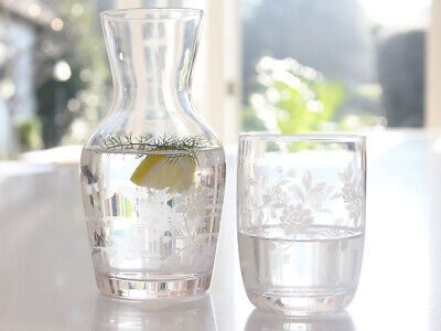 French Chic Vintage Clear Floral Water Carafe  Glass Bedside Gift Summer Wedding