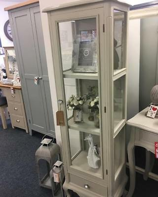 Florence French Style Glass Display Cabinet Unit Grey Shabby Chic