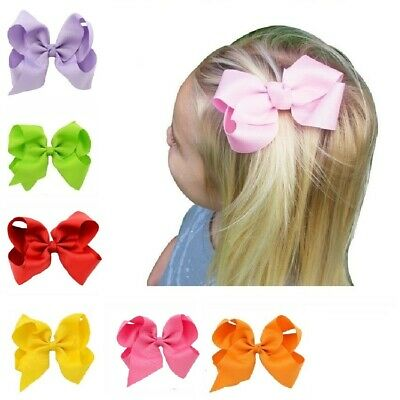 4 Inch Big Bows Boutique Girls Alligator Hair Clips Pin Grosgrain Ribbon Bow