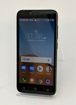 ALCATEL TETRA AT&T Prepaid 4G LTE 16GB Black Android Smartphone Good Shape