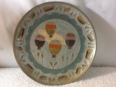 Nice Solid Brass Collectors Plate With HOT AIR BALLOONS Enameled Inlay 7 3/4""