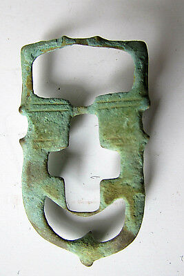 Ancient Buckle Theatrical Mask & Cross Bronze 400-600 Ad