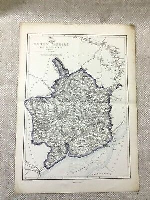 Antique Map Monmouthshire Wales 19th Century Old Hand Coloured