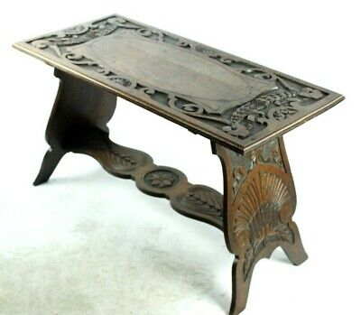 Antique Carved Oak Refectory Coffee Side Table [PL4964]