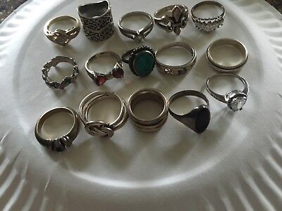 Large Lot Of Sterling Silver Rings