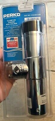 "Perko Crome-Plated Clamp On Rod Holder 1215 DP0 CHR Pipe Tube /"" Fishing Boat MD"