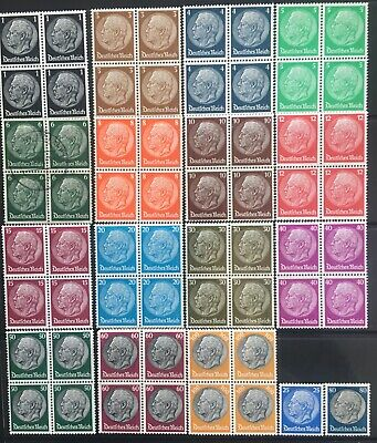 Germany Third Reich 1933-1934 Hindenburg issues Mi512-528 Blocks MNH & 6pf used