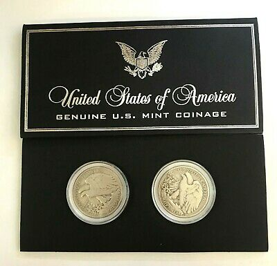 2 Pack 1936, 1937 Walking Liberty 50C US Mint 90% Silver Half Dollar Coin Set