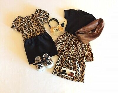 """Lot of 10 Doll Clothes fit 18"""" American Girl Doll Leopard Set Doll Animal Print"""