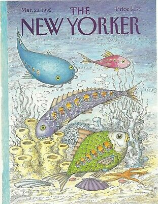 COVER ONLY ~The New Yorker magazine~ March 23, 1992 ~O'BRIEN ~ fish ocean reef