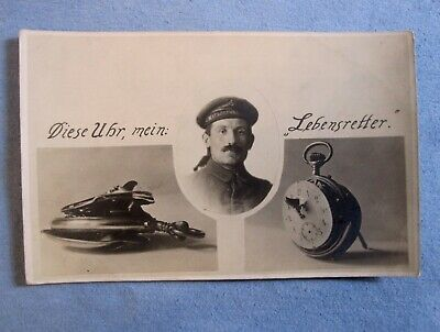 """RPPC, A WWI German Soldier, """"This Watch My Lifesaver."""""""