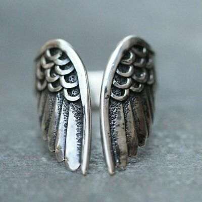 Unique 925 Sterling Silver Boho Fashion Angel Wings Ring Size: One Size Fit All