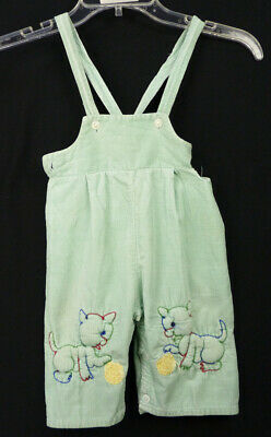 Vintage 60s Kitten Cat Embroidered Bib Overalls 12 Months Green Corduroy Pants