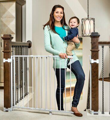 Regalo 2-In-1 Stairway and Hallway Wall Mounted Baby Gate, Includes Banister