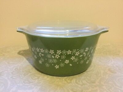 Vintage retro Pyrex casserole dish with lid, green floral, small 3 cup capacity