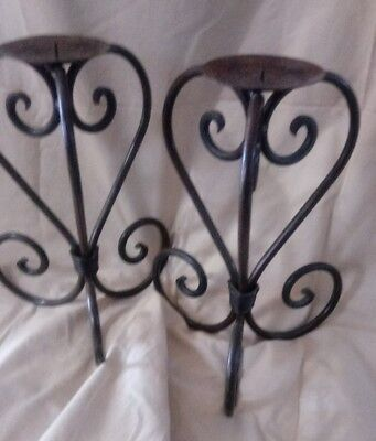 Rustic Wrought Iron Mission Look Metal Pillar Candle Holders