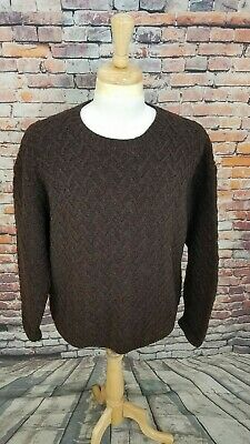J Crew Men s Brown Hand Knit Chunky Pullover FISHERMAN 100% WOOL Sweater ... dd89e5d43