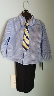 NWT TFW Toddler Boys Sz 3T Outfit Suit 3pc  Lng Sleeve Shirt Nvy Pants Tie USA