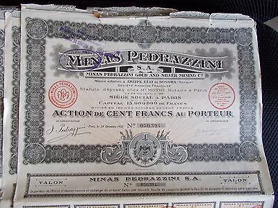 Lot 20 actions minas Pedrazzini gold and silver mining c°