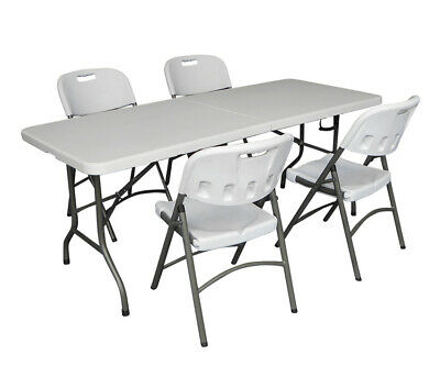 Heavy Duty 6Ft 1.8M Folding Table + 4 Chairs Catering Camping Trestle Market Bbq