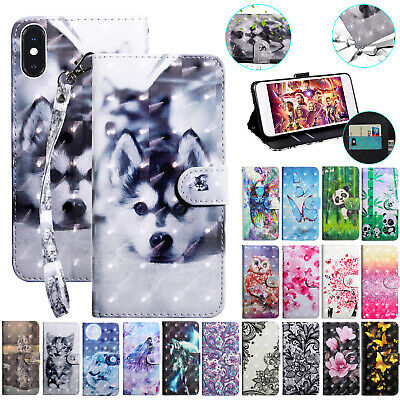 For iPhone 8 Plus Case 3D Pattern Magnetic Leather Flip Wallet Strap Stand Cover