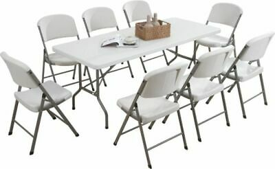 Heavy Duty 6Ft 1.8M Folding Table + 8 Chairs Catering Camping Trestle Market Bbq