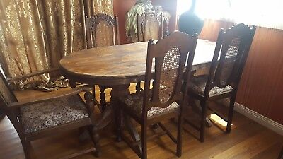 Solid Antique Rustic Table  & 4 Jacobean Carved Dining Chairs