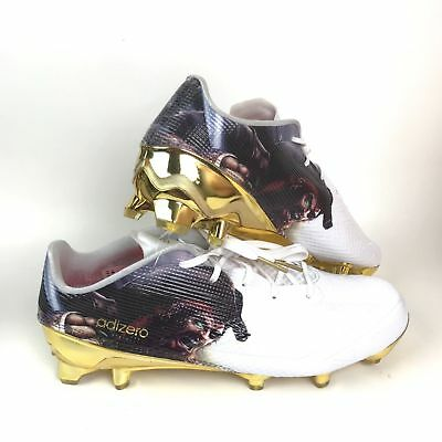 online retailer 05c97 4119a Mens Adidas Adizero 5-Star 5.0 Uncaged Football Cleat D70179 White Gold  Size 13