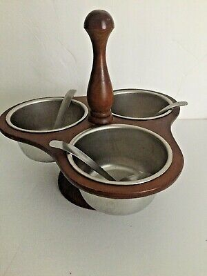 "MCM 3 Bowls Condiment Server Wood Caddy Holder Center Holder Spoons 8.5""T 9""W"