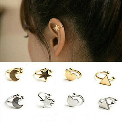 Women Fashion Clip On Ear Cuff Earrings Silver Gold Star Heart Helix No Piercing