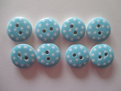 8 x 15mm Wooden Buttons Pale Blue with White Stars Sewing or Scrapbooking No1028