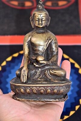Antique Buddha statue from the Old monk's chest bronze, hand carved sculpture