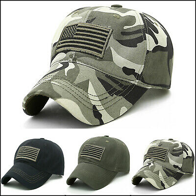 0c99edc856c Men Camo Tactical Military Army Baseball Cap American Flag Detachable Mesh  Hats