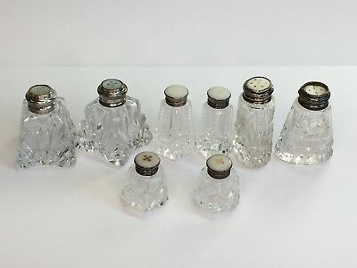 4 Pairs of Cut Crystal Salt & Pepper Shakers Faux MOP Inserts in Sterling Lids
