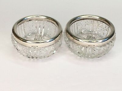 Pair of Cut Crystal Open Salt Cellars With Sterling Silver Rims/Collars