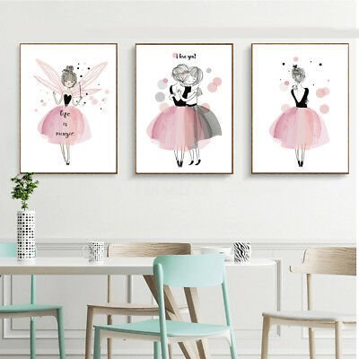 Kawaii Girl Nordic Style Cartoon Canvas Poster Wall Art Prints Kids Room Decor !