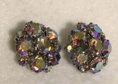 a0c732f94433c WEISS AB RHINESTONE Clip On Earrings SIGNED Aurora Borealis Vintage Jewelry