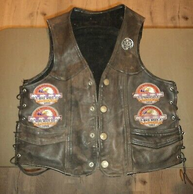 XL Vintage Motorcycle Club Vest Biker Leather Cut Colors MC Laconia Patch Harley