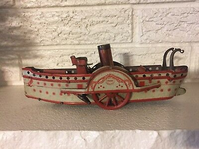 Vintage Antique Tin Lithograph Steam Paddle Wheel Boat  Wind-up Toy Orobr German