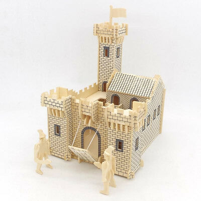 DIY Dolls House Miniatures Kit 3D Castle Soldiers Wooden Model Kids Toy Gifts !