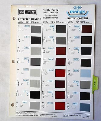 1985 Ford Mercury Lincoln And Truck Dupont Color Paint Chip Chart All  Models