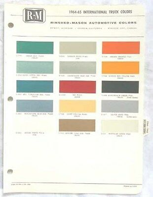 1964 - 1965  International Truck R-M  Color Paint Chip Chart All Models