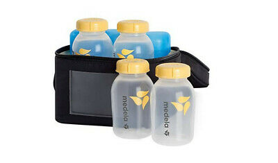 Breastmilk Cooler Set with Extra Ice Pack - 4 Bottles with Lids- Medela BPA FREE