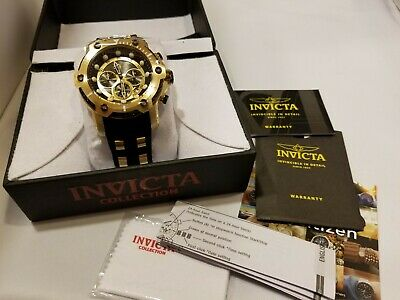 Invicta Men's 50mm Bolt Chronograph Black Dial Gold Plated SS Watch NEW
