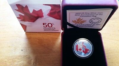 "2015 Canada $3 Fine silver ""50th Anniversary of the Canadian Flag"""