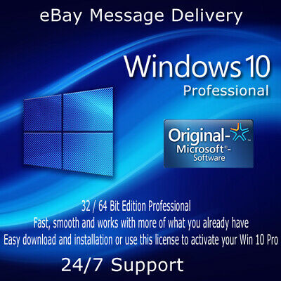 Microsoft GENUINE WINDOWS 10 PROFESSIONAL PRO KEY 32|64BIT ACTIVATION KEY