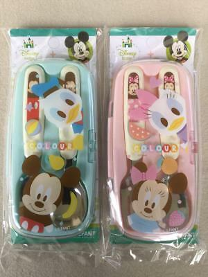 DISNEY MICKEY & MINNIE MOUSE Toddler Stainless Steel Spoon & Fork Set with CASE